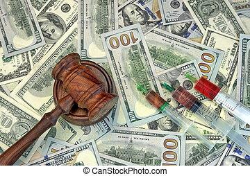 juizes, Gavel, e, siringa, com, injeção, ligado, dólar,...