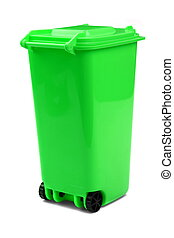 Green Plastic Waste Container Or Wheelie Bin, Isolated On...