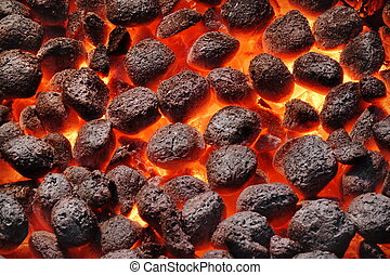 BBQ Grill Pit With Glowing Hot Charcoal Briquettes, Closeup...