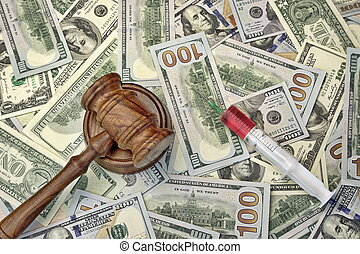 Judges Gavel And Syringe With Injection On Dollar Cash...