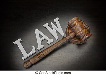 Judges Gavel And Sign Law On Wood Background, Top View - Top...