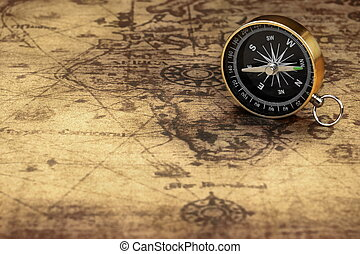 Close Up Of Magnetic Compass On The Old Map