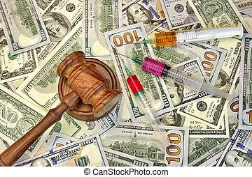 juizes, dólar, Dinheiro,  Gavel, fundo, siringa, injeção