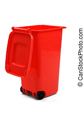 Red Plastic Waste Container Or Wheelie Bin, Isolated On...