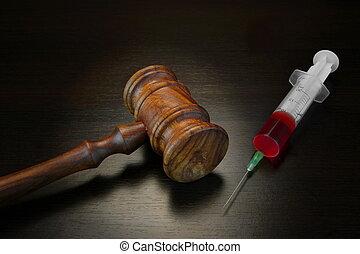 Judges Gavel And Medical Injection Syringe On Black Wooden Background