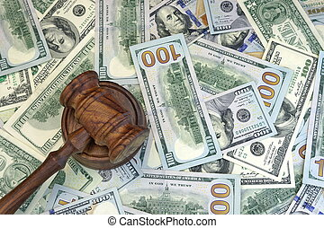 Judges Or Auctioneer Gavel On The Dollar Cash Background,...