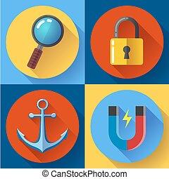 Internet marketing icons set. Flat design style.