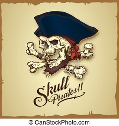 Skull pirates vector illustration - Available in...