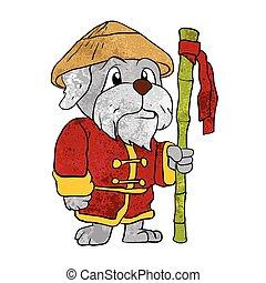 Dog guru master cartoon.vector illustration