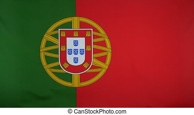 Portugal Flag real fabric Close up - Textile flag of...