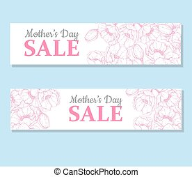 Mother's day sale illustation. Detailed flower drawing. Great ba