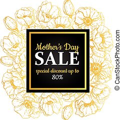 Mother's day sale illustration. Detailed flower drawing. Great b