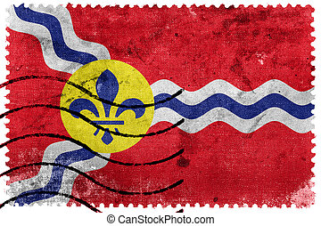 Flag of St Louis, Missouri, old postage stamp