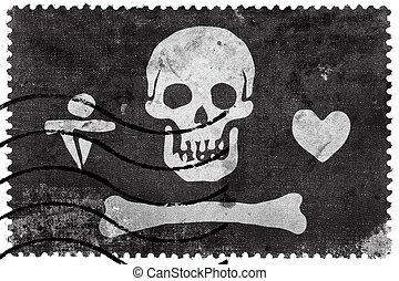 Stede Bonnet Pirate Flag, old postage stamp
