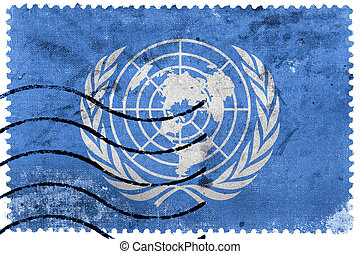 Flag of United Nations, old postage stamp