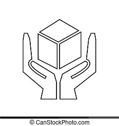 Handle with care sign icon illustration design