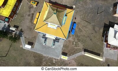 A birds-eye video shooting drone center of Russian Buddhism...