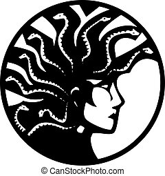 Medusa With Mohawk - Woodcut style mythical Greek medusa...