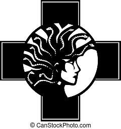 Medusa Cross - Woodcut style mythical Greek medusa with a...