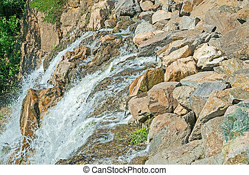 Small waterfall - A small waterfall mountain river in summer...