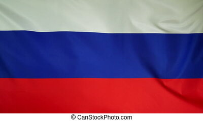 Russia Flag real fabric Close up - Textile flag of Russia...