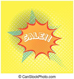 Comic sales - Yellow textured background with an isolated...