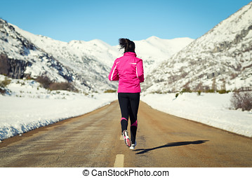 Running in road on cold winter