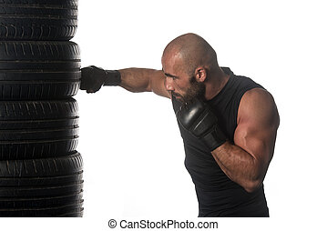 Boxer Is Hitting Tire Over White Background Isolated -...