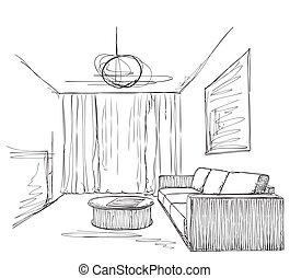 Stuhl gezeichnet  Vektoren von zimmer, sofa, hand, inneneinrichtung, gezeichnet ...