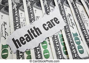 Health care costs - Health Care newspaper headline on cash...