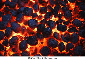 Hot Glowing Charcoal Briquettes Texture And Background, Top...