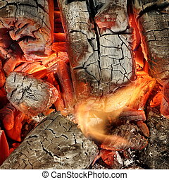 Charcoal Briquettes Glow In BBQ Grill Pit Background Texture...