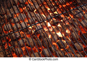 BBQ Grill Pit And Glowing Hot Charcoal Briquettes, Top View...