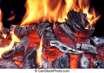 Flaming Charcoal Isolated On Black Background - Flaming...
