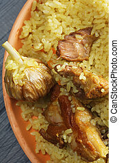 Pilaf with lamb above view closeup - Pilaf with lamb on a...