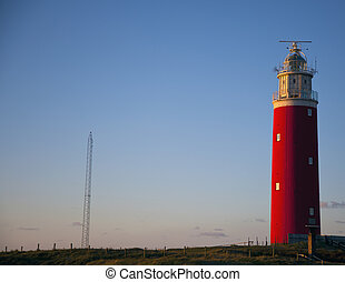the lighthouse of texel in the evening light