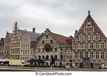 Lys river embankment Graslei, Ghent, Belgium - The Graslei...