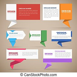 Big set of web banners in origami style. Banner with leg for...