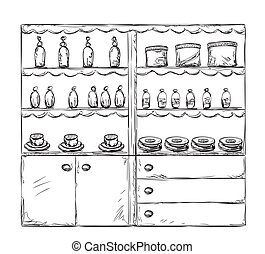 Kitchen furniture sketch. Hand drawn cupboard. Interior