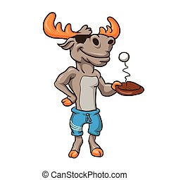 Funny illustration of a moose  -  moose with racket and ball