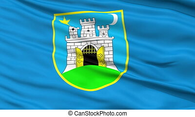 Zahreb City Close Up Waving Flag - Zahreb Capital City Flag...