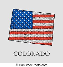 State Colorado - vector illustration. - State Colorado in...