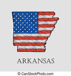 State Arkansas - vector illustration. - State Arkansas in...