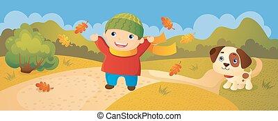 Boy Walking In Autumn Park