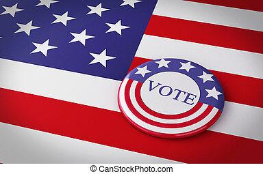 3d llustration of presidential campaign pin - 3d renderer...