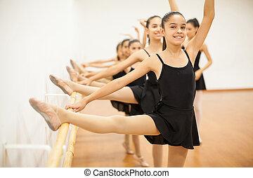 Girls enjoying their ballet class at school