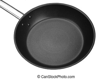 Non-stick Frypan With Shinny Handle Isolated On White, Top...
