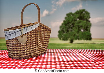 Picnic Basket On The Red Checkered Tablecloth And Summer Landscape