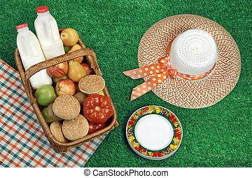 sommer, begriff, Picknick, stroh, Lebensmittel, korb, Hut