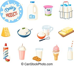 Set of cartoon food: dairy products - milk, yogurt, cheese,...